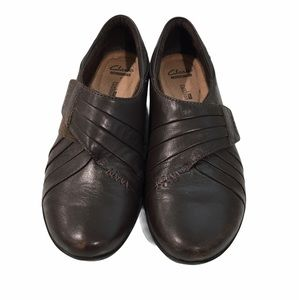 Clarks brown leather Velcro close slip on shoes